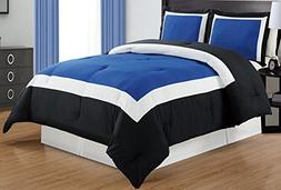 3-Piece NAVY BLUE / BLACK / WHITE Color Block Duvet Cover se