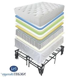 "New 12"" Euro Box Tight Top Spring Mattress & Bed Frame Set T"