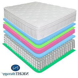 "NEW 13"" NIGHT THERAPY DELUXE EURO BOX TOP SPRING MATTRESS FU"