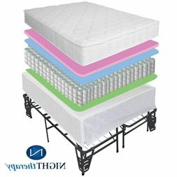 "New 8"" Tight Top Spring Mattress & Steel Bed Frame Set Size"