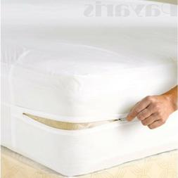 Waterproof Zippered Mattress Cover Non Allergenic Vinyl Bed