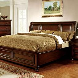 247SHOPATHOME IDF-7682CK Panel Bed, California King Cherry