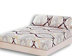 Tache Paisley Damask Burgundy Ivory Fitted Sheet - Maroon Ma