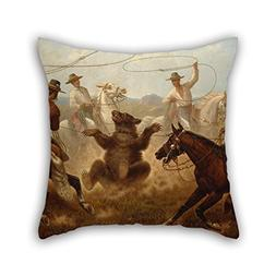Pillow Shams Of Oil Painting James Walker - Cowboys Roping A
