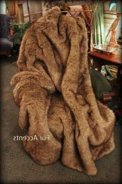Fur Accents Plush Faux Fur Throw Blanket Wolf / Coyote 5'x6'