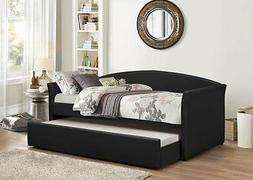 Pu Leather Upholstered Twin Slat Daybed Day Bed w/ Trundle &