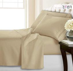 Queen Sheets, Fitted Flat 4 Piece Bed Sheet Set, 1800 Hotel