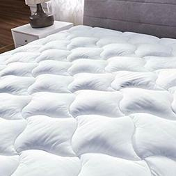 Queen Quilted Fitted Mattress Pad Cover Pillowtop Overfilled