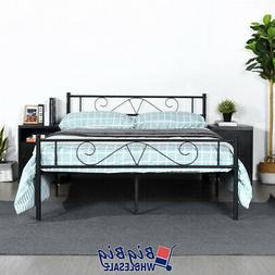 queen size metal bed frame black mattress