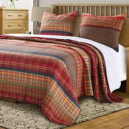 Finely Stitched Quilt Set with Shams 3 Piece Print Stripe Pl
