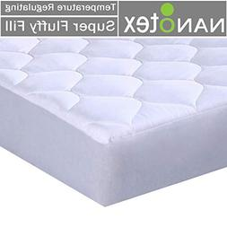 Mattress Pad Quilted Fitted Featuring Nanotex Temperature Re