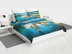 Scenery House Decor Mens Bedding Sets Surreal Landscape with