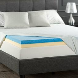 Zinus 4 Inch Gel Memory Foam Mattress Topper, Twin