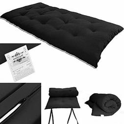 Solid Black Japanese Tatami Mat Floor Mattresses Rolling Bed