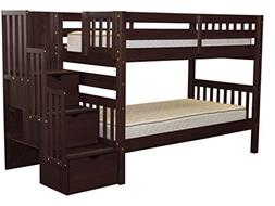 Bedz King Stairway Bunk Beds Twin over Twin with 3 Drawers i