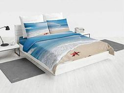 Starfish Decor Modern Bedding Set Rainbow Over The Sea Cloud