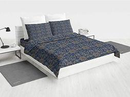 Sun WVU Bedding Set Doodle Style Star Motif with Stripes and