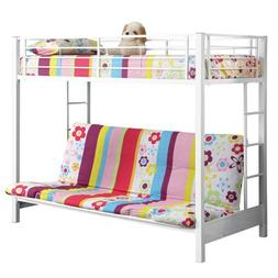 Walker Edison Sunrise 80 Metal Twin/Double Bunk Bed, White