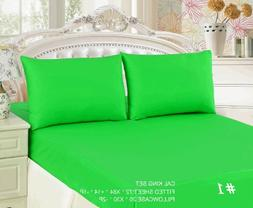 Tache 3 Piece 100% Cotton Solid Green Fitted Bed Sheet Set C