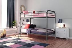 DHP Twin-over-Twin Bunk Bed with Ladder, Silver, and 2 Signa