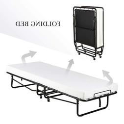 Twin Size Rollaway Folding Metal Bed Frame Guest Bed w/ Memo
