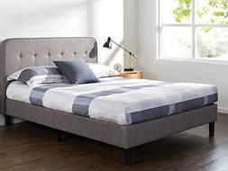 Zinus Melodey Upholstered Curved Platform Bed with Wooden Sl